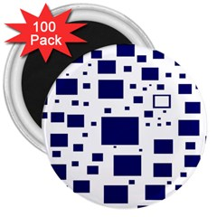 Illustrated Blue Squares 3  Magnets (100 Pack) by Mariart