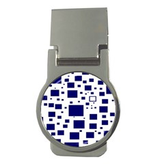Illustrated Blue Squares Money Clips (round)  by Mariart