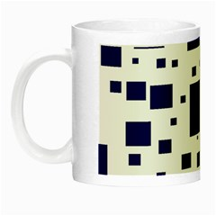 Illustrated Blue Squares Night Luminous Mugs by Mariart