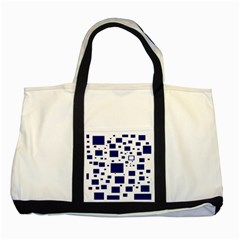 Illustrated Blue Squares Two Tone Tote Bag by Mariart