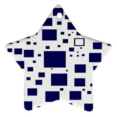 Illustrated Blue Squares Star Ornament (two Sides) by Mariart