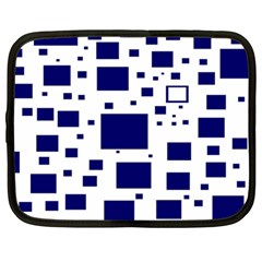 Illustrated Blue Squares Netbook Case (large) by Mariart
