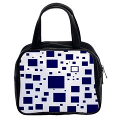 Illustrated Blue Squares Classic Handbags (2 Sides) by Mariart