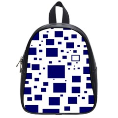 Illustrated Blue Squares School Bags (small)  by Mariart