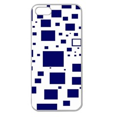 Illustrated Blue Squares Apple Seamless Iphone 5 Case (clear) by Mariart