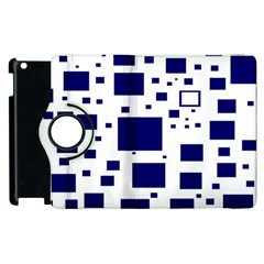Illustrated Blue Squares Apple Ipad 2 Flip 360 Case by Mariart