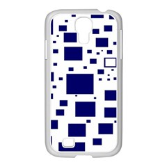 Illustrated Blue Squares Samsung Galaxy S4 I9500/ I9505 Case (white) by Mariart