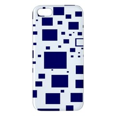 Illustrated Blue Squares Iphone 5s/ Se Premium Hardshell Case by Mariart