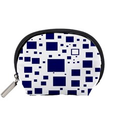 Illustrated Blue Squares Accessory Pouches (small)  by Mariart