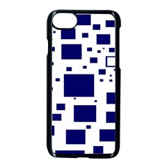 Illustrated Blue Squares Apple Iphone 7 Seamless Case (black) by Mariart