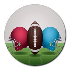 Helmet Ball Football America Sport Red Brown Blue Green Round Mousepads by Mariart