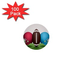 Helmet Ball Football America Sport Red Brown Blue Green 1  Mini Buttons (100 Pack)  by Mariart