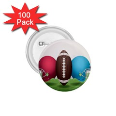 Helmet Ball Football America Sport Red Brown Blue Green 1 75  Buttons (100 Pack)  by Mariart
