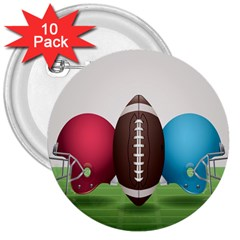 Helmet Ball Football America Sport Red Brown Blue Green 3  Buttons (10 Pack)  by Mariart