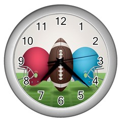 Helmet Ball Football America Sport Red Brown Blue Green Wall Clocks (silver)  by Mariart