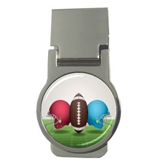 Helmet Ball Football America Sport Red Brown Blue Green Money Clips (round)  by Mariart