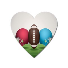 Helmet Ball Football America Sport Red Brown Blue Green Heart Magnet by Mariart