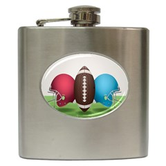 Helmet Ball Football America Sport Red Brown Blue Green Hip Flask (6 Oz) by Mariart