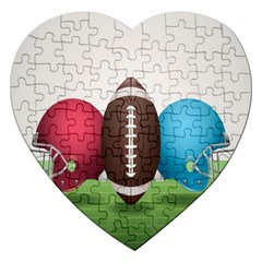 Helmet Ball Football America Sport Red Brown Blue Green Jigsaw Puzzle (heart) by Mariart