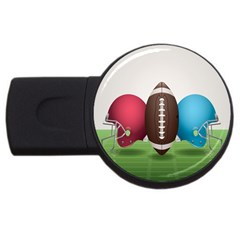 Helmet Ball Football America Sport Red Brown Blue Green Usb Flash Drive Round (4 Gb) by Mariart