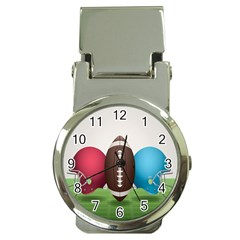 Helmet Ball Football America Sport Red Brown Blue Green Money Clip Watches by Mariart