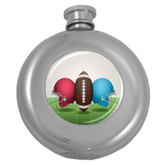 Helmet Ball Football America Sport Red Brown Blue Green Round Hip Flask (5 Oz) by Mariart
