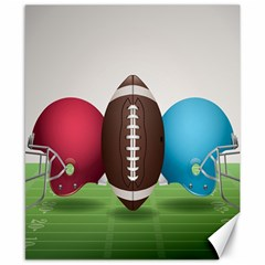Helmet Ball Football America Sport Red Brown Blue Green Canvas 8  X 10  by Mariart