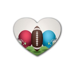 Helmet Ball Football America Sport Red Brown Blue Green Heart Coaster (4 Pack)  by Mariart