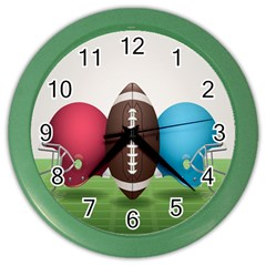 Helmet Ball Football America Sport Red Brown Blue Green Color Wall Clocks by Mariart