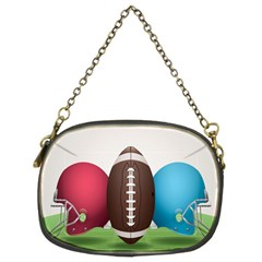 Helmet Ball Football America Sport Red Brown Blue Green Chain Purses (two Sides)  by Mariart
