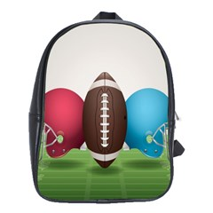 Helmet Ball Football America Sport Red Brown Blue Green School Bags(large)  by Mariart