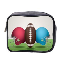 Helmet Ball Football America Sport Red Brown Blue Green Mini Toiletries Bag 2 Side by Mariart