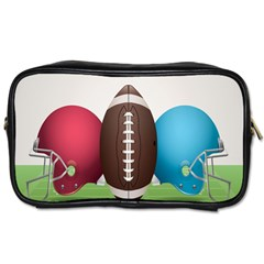 Helmet Ball Football America Sport Red Brown Blue Green Toiletries Bags by Mariart