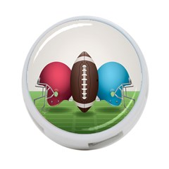 Helmet Ball Football America Sport Red Brown Blue Green 4 Port Usb Hub (one Side) by Mariart
