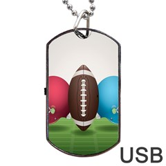 Helmet Ball Football America Sport Red Brown Blue Green Dog Tag Usb Flash (two Sides) by Mariart