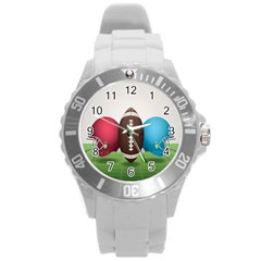 Helmet Ball Football America Sport Red Brown Blue Green Round Plastic Sport Watch (l) by Mariart