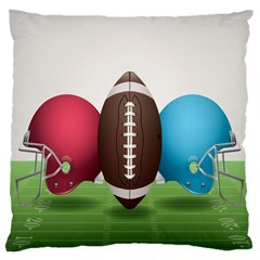 Helmet Ball Football America Sport Red Brown Blue Green Large Cushion Case (one Side) by Mariart