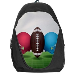 Helmet Ball Football America Sport Red Brown Blue Green Backpack Bag by Mariart