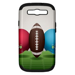 Helmet Ball Football America Sport Red Brown Blue Green Samsung Galaxy S Iii Hardshell Case (pc+silicone) by Mariart
