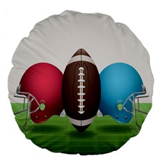 Helmet Ball Football America Sport Red Brown Blue Green Large 18  Premium Round Cushions by Mariart