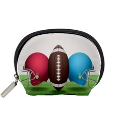 Helmet Ball Football America Sport Red Brown Blue Green Accessory Pouches (small)  by Mariart