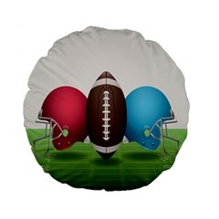 Helmet Ball Football America Sport Red Brown Blue Green Standard 15  Premium Flano Round Cushions by Mariart