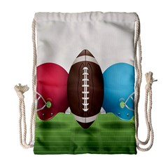 Helmet Ball Football America Sport Red Brown Blue Green Drawstring Bag (large) by Mariart