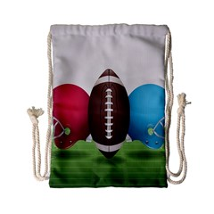 Helmet Ball Football America Sport Red Brown Blue Green Drawstring Bag (small) by Mariart
