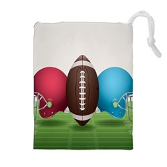 Helmet Ball Football America Sport Red Brown Blue Green Drawstring Pouches (extra Large) by Mariart