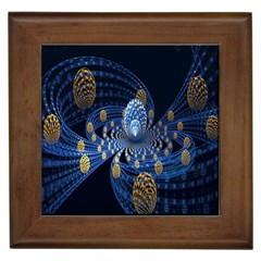 Fractal Balls Flying Ultra Space Circle Round Line Light Blue Sky Gold Framed Tiles by Mariart