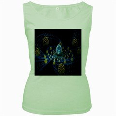 Fractal Balls Flying Ultra Space Circle Round Line Light Blue Sky Gold Women s Green Tank Top
