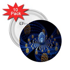 Fractal Balls Flying Ultra Space Circle Round Line Light Blue Sky Gold 2 25  Buttons (10 Pack)