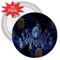 Fractal Balls Flying Ultra Space Circle Round Line Light Blue Sky Gold 3  Buttons (10 Pack)  by Mariart