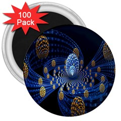 Fractal Balls Flying Ultra Space Circle Round Line Light Blue Sky Gold 3  Magnets (100 Pack) by Mariart